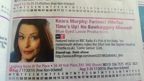 Keara Page on Fringe Brochure